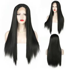 Real Lace Front Wigs Hair Long Straight Black Wig Synthetic Heat Resistant Fiber Wig for Black Women black one size