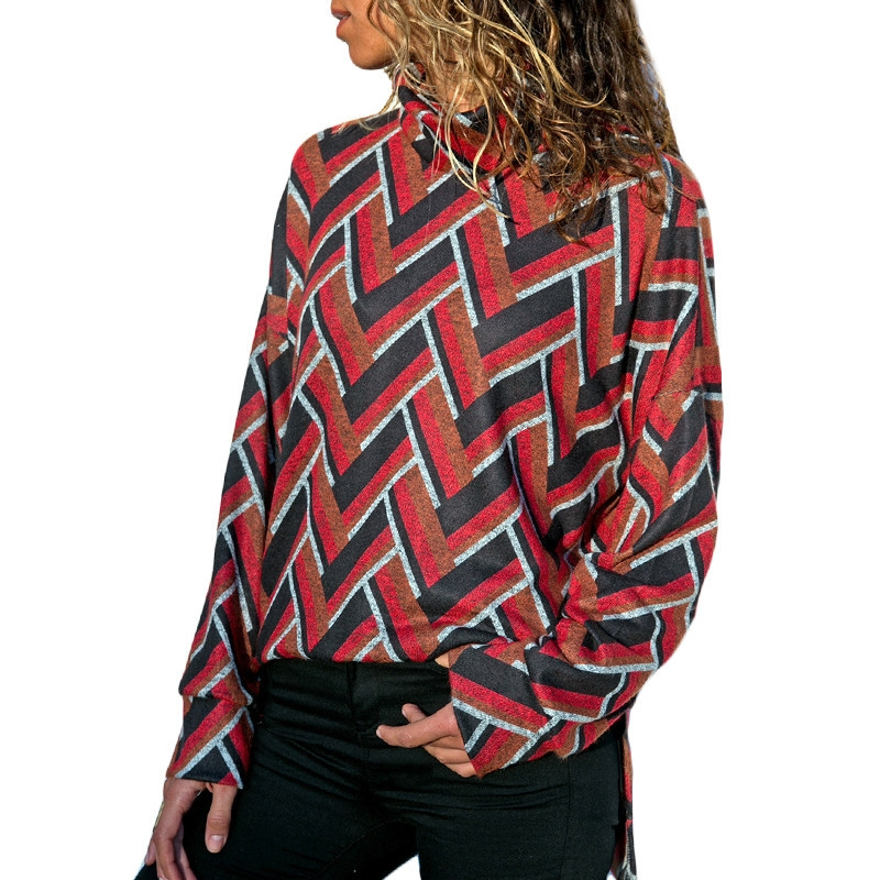 T Printed Shirt Women's Long Leisure Collar High Sleeve Geometric BfEwCqnA