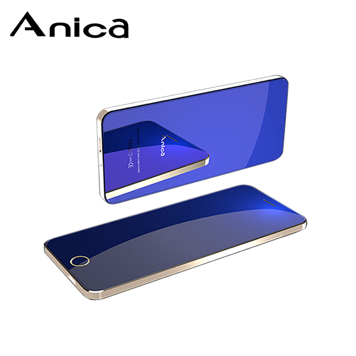 "Anica T9, Metal case, 1.54"" Fantasy color display, Tempered glass mirror, Slim touch featured phones Blue"