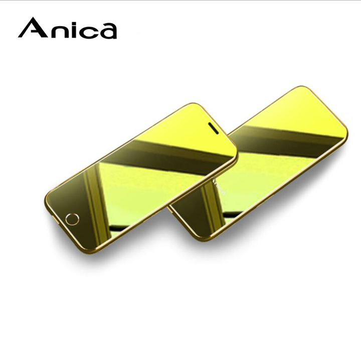 """Anica T8, Metal case, 1.54"""" touch key Display, Tempered glass mirror, All worlds bands luxury phones Golden"""