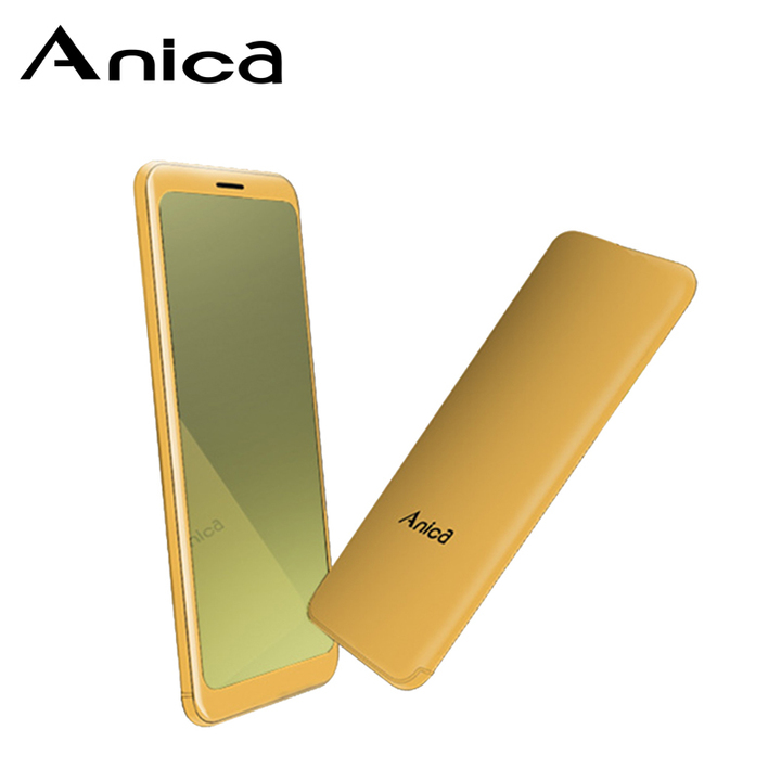 "Anica T10, Metal case, 1.54"" Tempered Glass Mirror Touch key Screen, GPRS TF 32GB GSM small Phones Golden"