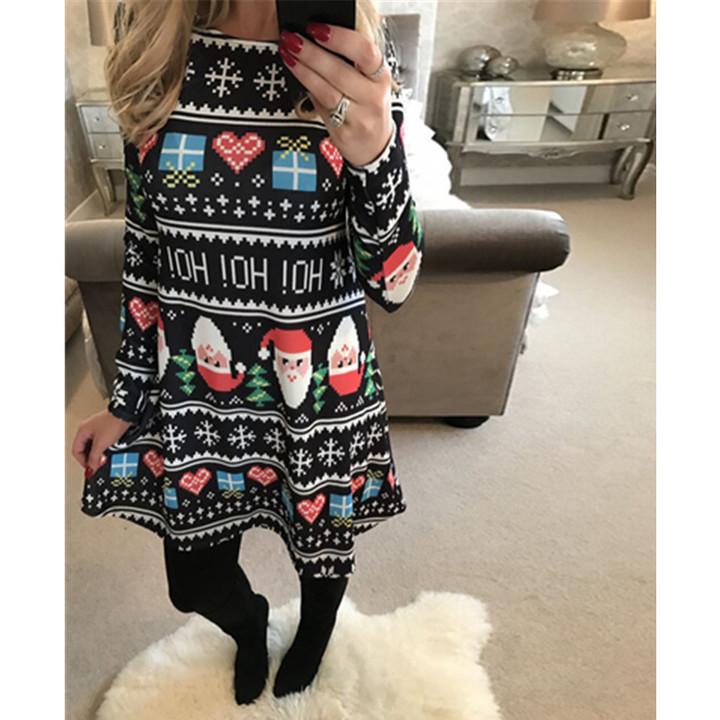 a491a3aafe862 Autumn Women Christmas Dress Plus Size New Year Festival Long Sleeve Casual  vintage Dress Ladies XL Black-snow