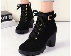 Shoes Ladies Fashion Shoes Women High Heels Women's Boots Thick Heels and Martins Boots 35-41 black 35