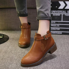 Women Ankle Martin Boots Autumn Female Casual Shoes Woman Flat New Fashion Comfortable Ladies. Brown 39