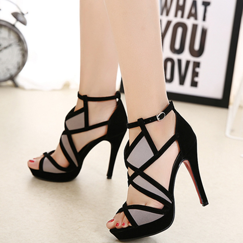 9aa15c24915 New Fashion Women Party Buckle Strap Heel High Shoes Sexy Cross Platform  Sandals For Office Ladies black 36  Product No  8302804. Item specifics   Brand