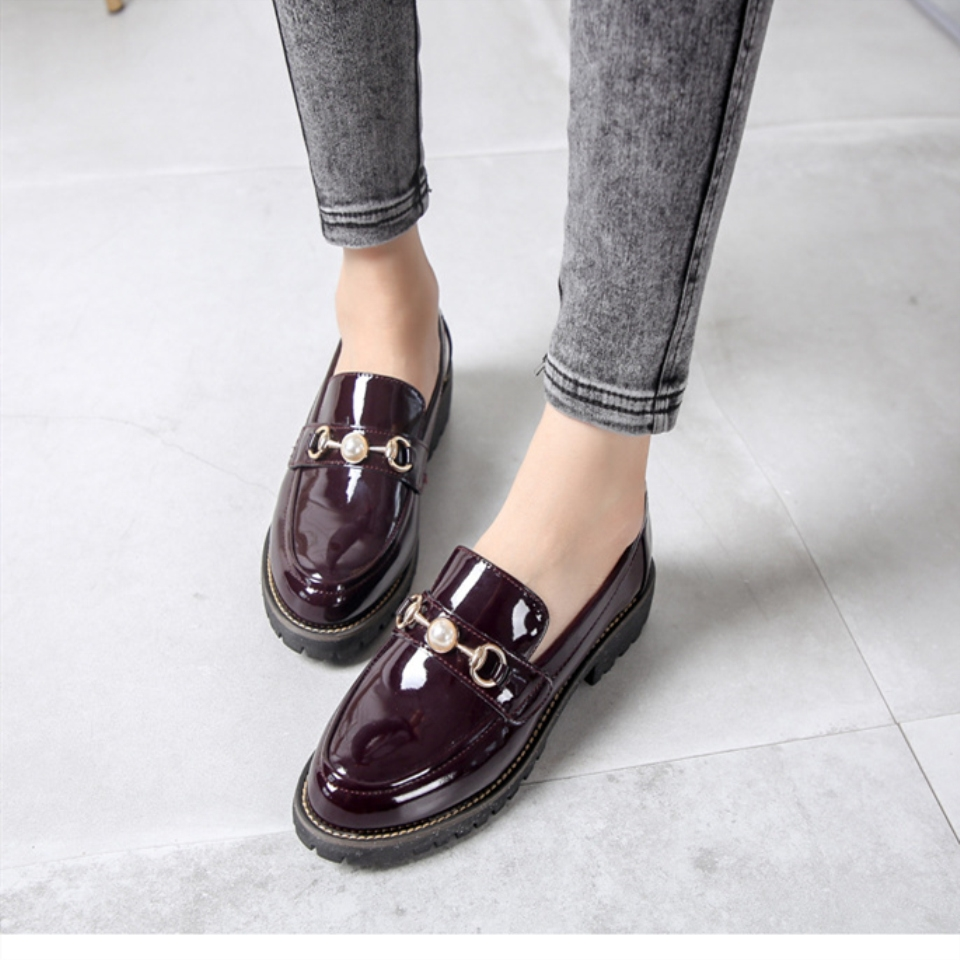 Women Leather Vintage Loafers Shoes Slip On Oxford Flat