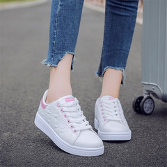 Women Sneakers Fashion Comfortable Flat White Shoes Ladies Pu Leather Platform Lace Up Casual Shoes pink 36