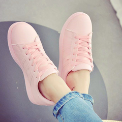 Fashion Casual Leather Shoes Woman Sneakers Flat Platform Athletic Shoes Ladies Comfortable Shoes pink 36