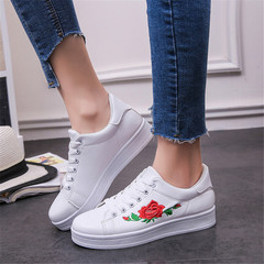 Women Casual Athletic Flower Embroidery Trendy Loafers Fashion Sneakers Ladies Platform Shoes white 36