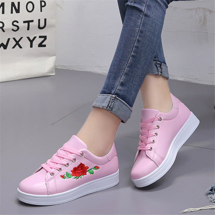 Women Casual Athletic Flower Embroidery Trendy Loafers Fashion Sneakers Ladies Platform Shoes pink 36