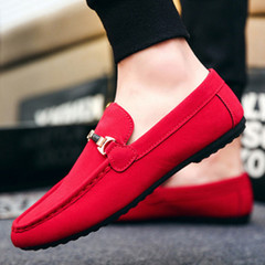 Men Fashion Business Peas Shoes Breathable Leisure Slip-On Light Loafers Men Casual Flat Sneakers red 39