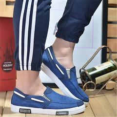 Men'S Business Peas Shoes Breathable Slip-On Light Men Casual Flat Gentleman Canvas Shoes blue 44
