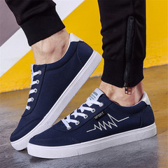Men Comfortable Casual Shoes Fashion Popular Breathable Soft Sneakers Man Wild Tide Flat Shoes blue 43