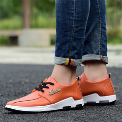 Men Loafers Fashion Breathable Moccasins Sneakers Man Slip On Casual Rubber Shoes Driving Shoes orange 40