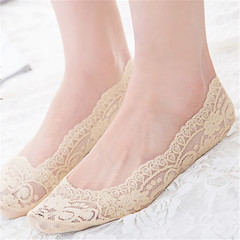 1 Pairs Cotton Lace Anti-skid Invisible No Show Ankle Socks Random Color random