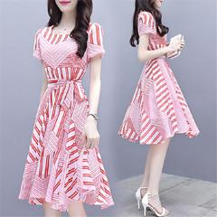 Dresses Women Summer 2019 New Summer Women's Dresses Show Slim and Slim Long Fashion Printed Skirt m pink