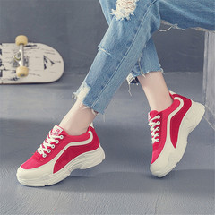 New Fashion Female Student Sports Shoes 2019 Running Shoes Increased Old Shoes red 35