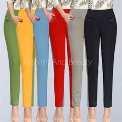 Summer Slim Ladies's Fashion Nine-point Trousers Women High-waist Elastic Coloured Leisure Pants Yellow L
