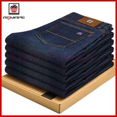 Jeans Straight Bowl Elasticity Slim Loose Men's Leisure Pants Men's Trousers blue 28