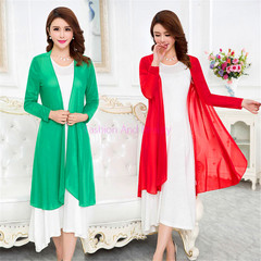 2019 New Fashion Spring and Summer Mesh Shawl Coat with Long Sleeve Cardigan and Beach Sunscreen green M