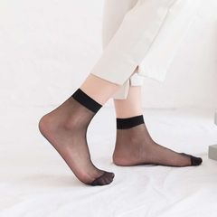 10 pairs of summer ladies short crystal stockings ultra-thin invisible transparent socks 10 pairs of black one size