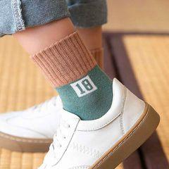 5 pairs of medium and thick children socks baby socks boys and girls tube socks student socks 5 colors mixed randomly XL(9-12 years)