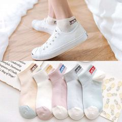 5 pairs of spring and summer boat socks shallow mouth wild student ladies socks 5 colors mixed randomly ONE SIZE