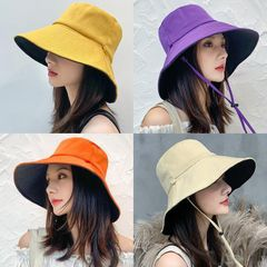 Women's Fashion Accessories Fisherman hat Protection UV Hat Sun Protection Hat Wear On Both Sides Turmeric and Black
