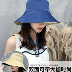 Women's Fashion Accessories Fisherman hat Protection UV Hat Sun Protection Hat Wear On Both Sides Beige and Navy