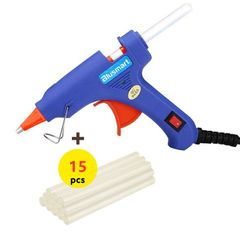 Mini Hot Glue Gun Hot Melt Glue Gun with 15pcs Glue Sticks for Quick Blue one size