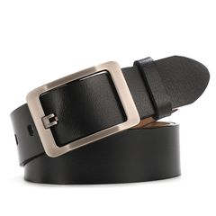 Men's fashion pure cowhide belt Special promotion Until we're sold out 02 black one size (125cm)