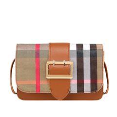 New ladies pin buckle messenger shoulder coin purse printed plaid small square bag Brown 20.0 cm * 5.5 cm * 13.0 cm