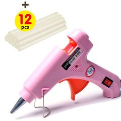 Upgraded Hot Glue Gun+12 Pcs Lengthened Melt Glue Sticks Safe and nontoxic Christmas Tool A pink glue gun and 12 glue sticks one size