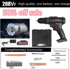 21V Electric Drill With Rechargeable Lithium Battery Electric Screwdriver Black one size
