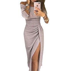 Sexy Off Shoulder Party Dress Bright Silk Shiny  Long Sleeve High Waist  Bodycon Dress vestido M Apricot