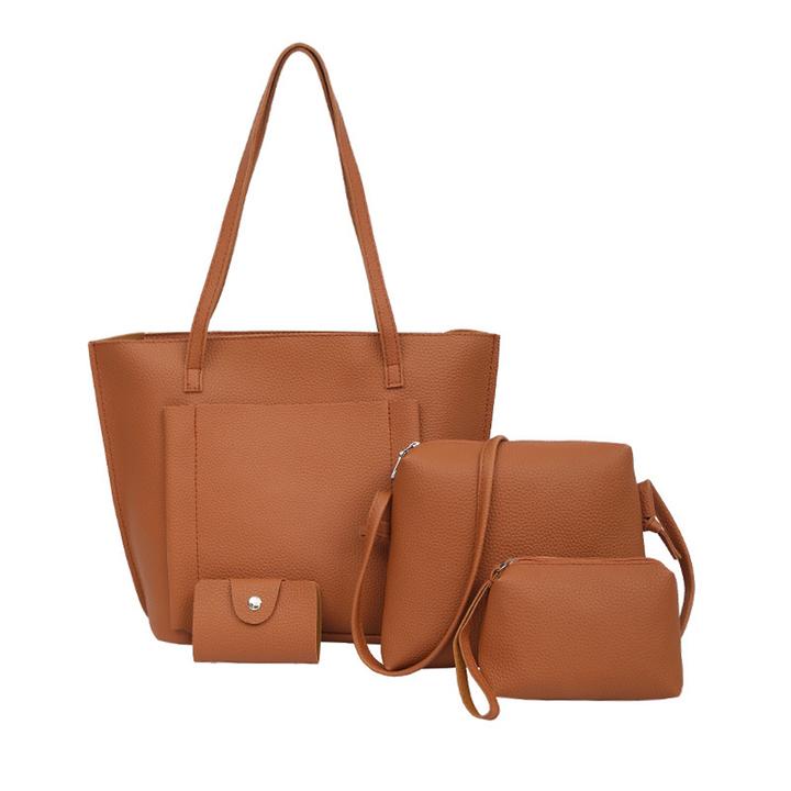 caeed887f819 4PCS Fashion Litchi Pattern Messenger Bag Shoulder Bag Purse Ladies PU  Leather Crossbody Bag Red One