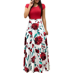 RC Women Summer Long Dress Floral Print Bohemian Beach Maxi Dress Casual  Short Sleeve Party Dresses S Red White