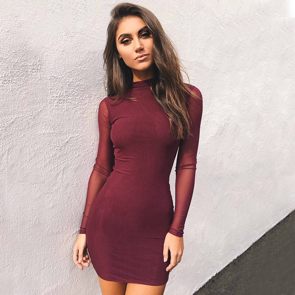 RC Mesh Patchwork Bodycon Party Dress 2018 Autumn Winter Women Long Sleeve  Sexy Mini Dresses L Wine red  Product No  7276754. Item specifics  Brand  516030901