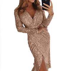 Sexy Deep V-neck Party Dresses Bright Silk Shiny Long Sleeve High Waist Bodycon Bling Dress vestidos L Champagne