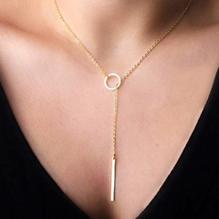 Romantic Women Accessories Plated Metal Chain Bar Circle Lariat Necklace Pendant Necklaces Jewelry Gold One Size