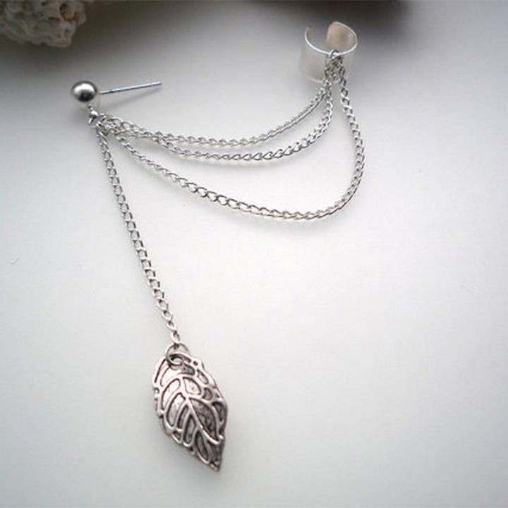 1piece Rock Style Woman Young Gift Leaf Chain Tassel Earrings Metallic Gold Silver Jewelry Ear Clip Silver One Size