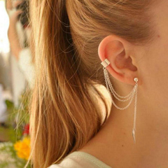 1piece Rock Style Woman Young Gift Leaf Chain Tassel Earrings Metallic Gold Silver Jewelry Ear Clip Gold One Size