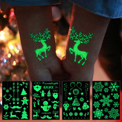 1pcs Party Jewellery Decoration Luminous Temporary Tattoo Stickers Christmas Carnival New Year Decor 1#