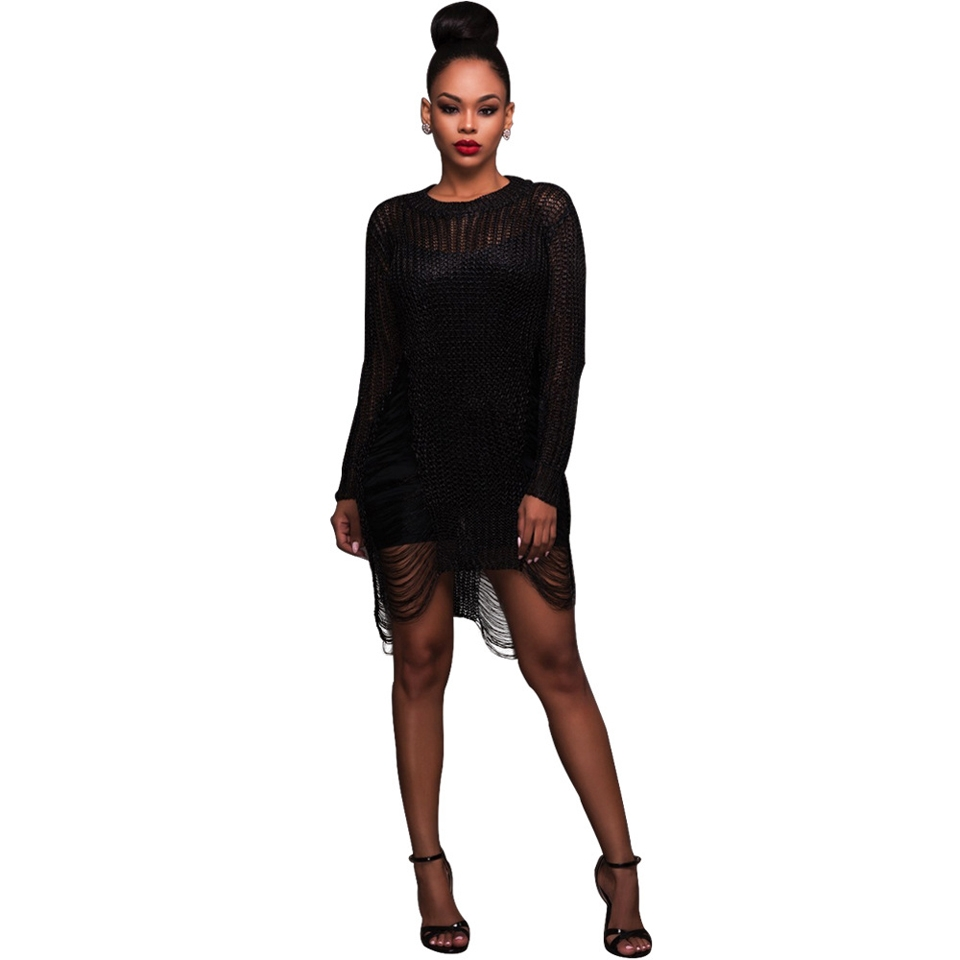 a007f29a820a Sexy Ladies Hollow Out Knitted Crochet Sweater Dress Women Mini Club ...