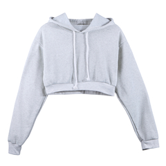Women Sweatshirt 2018 Hoodies Solid Crop Hoodie Long Sleeve Jumper Hooded Pullover Coat Casual Top Grey m