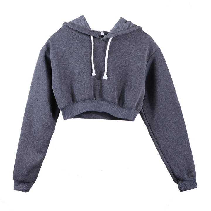 df56b4bdc2e77 Women Sweatshirt 2018 Hoodies Solid Crop Hoodie Long Sleeve Jumper Hooded  Pullover Coat Casual Top Dark Grey xl