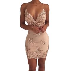 Sexy Gold Sequin Dress Women Befree Party Vestido Mesh Streetwear Christmas Luxury Nightclub Dresses M Gold