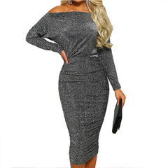 Sexy Off Shoulder Shiny Long Sleeve Slim Party Dress Women Office Bodycon Pencil Dresses Vestidos M Grey