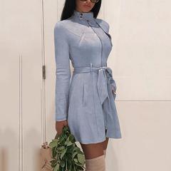 Hot Fashion Women Turtleneck Coat Vintage Ladies Zipper Belted Long Sleeve Pocket Solid Trench Coats Blue S