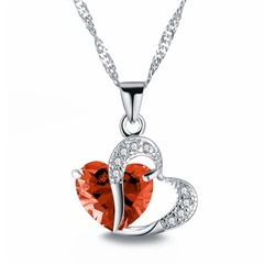 Necklace Heart-shaped Zircon Crystal Necklace Chain Clavicle Women Heart Rhinestone Pendant Jewelry 7# One Size